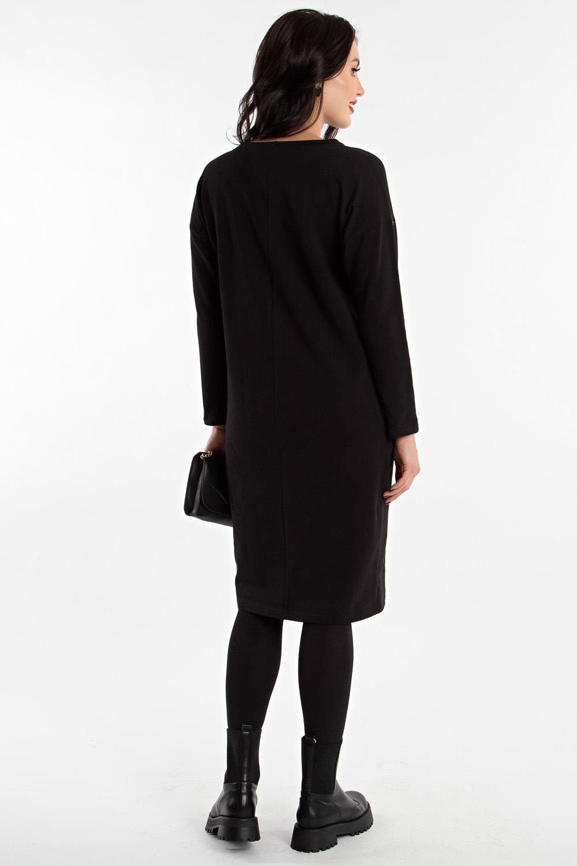 черная прямая юбка из футера с карманами